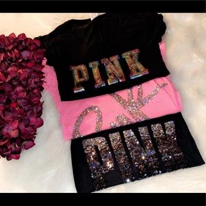 PINK Victoria's Secret Lot of 3 Sequin Tees